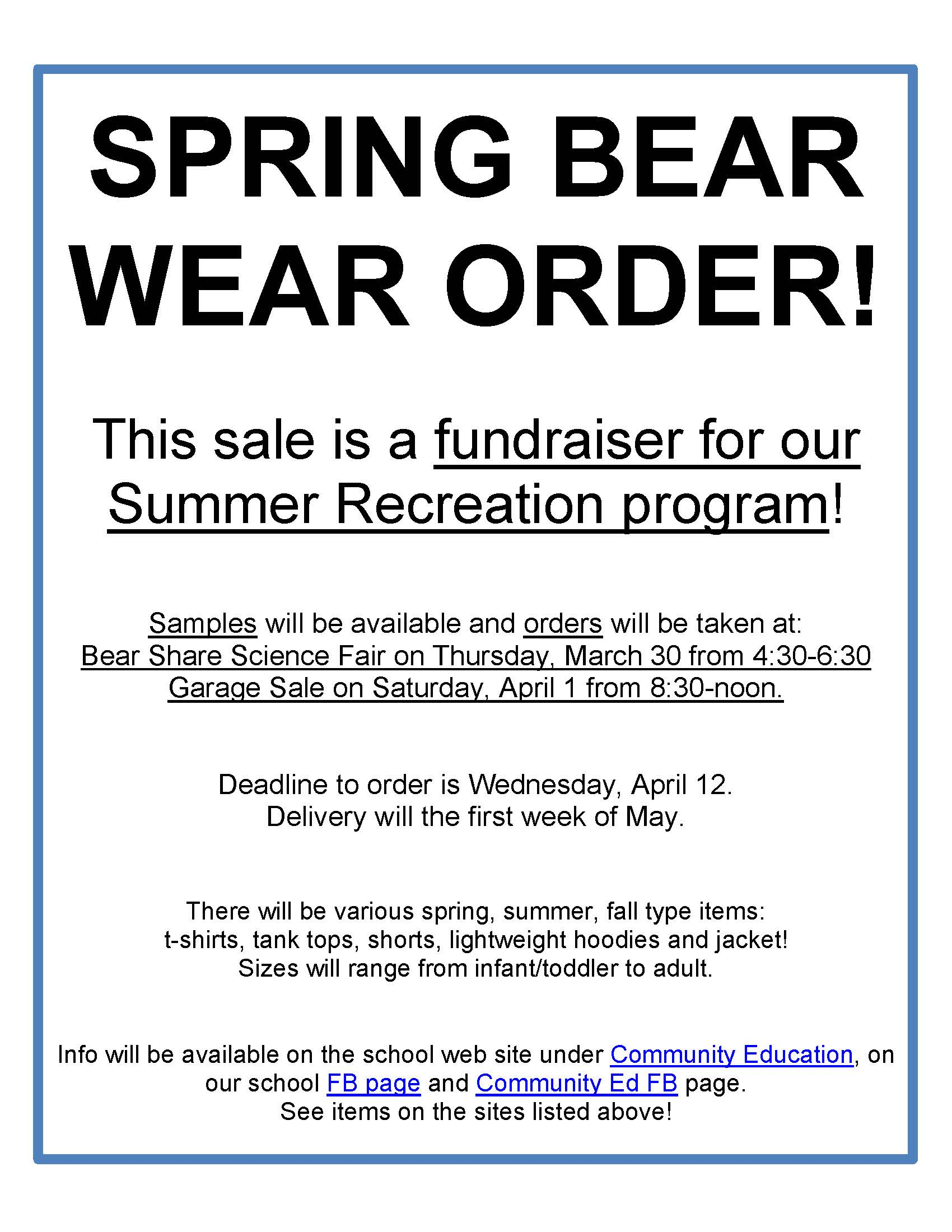 clearbrook gonvick district 2311 bear wear spring order inserted image